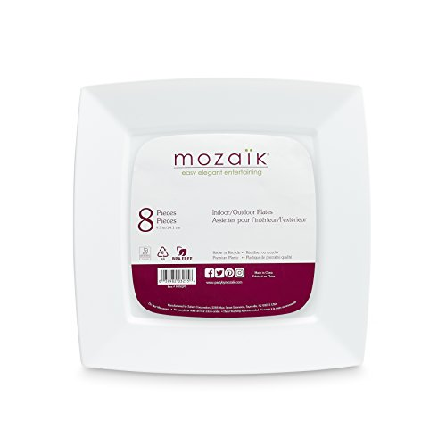 Mozaik M9SQP8 Plate Mosaic White Square 9.5In, ()