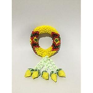 "Handicraft Thai Hanging Jasmine Garland Fabric and Plastic Flower Rose Handmade Symbolic Of Victory And Honor. Diameter 2.17 "" Length 7.87"" 47"