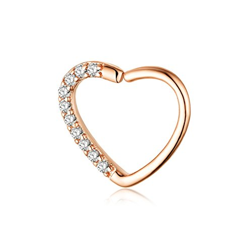 16g Rose Gold Small Hoop Cartilage Tragus Earrings Daith CZ Heart Nose Rings For Women Girls Stainiless Steel Piercing Jewelry (rose (Gold Small Heart Earrings)