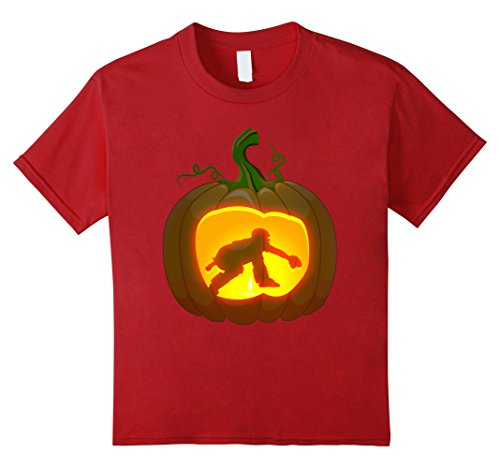 [Kids catcher baseball shirt Pumpkin Halloween 12 Cranberry] (Baseball Catcher Halloween Costume)