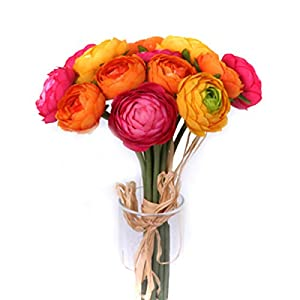 Floristrywarehouse Artificial Ranunculus Bundle 14 Mini Orange Yellow Flowers and Cerise Pink 10.5 Inches 8