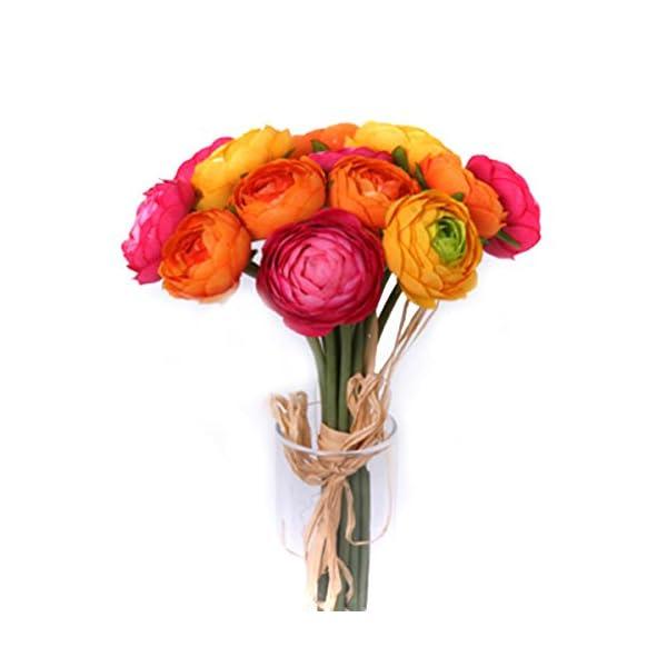 Floristrywarehouse Artificial Mini Ranunculus Bundle 14 x 1.5 Inch Head Diameter Orange Yellow and Cerise Pink