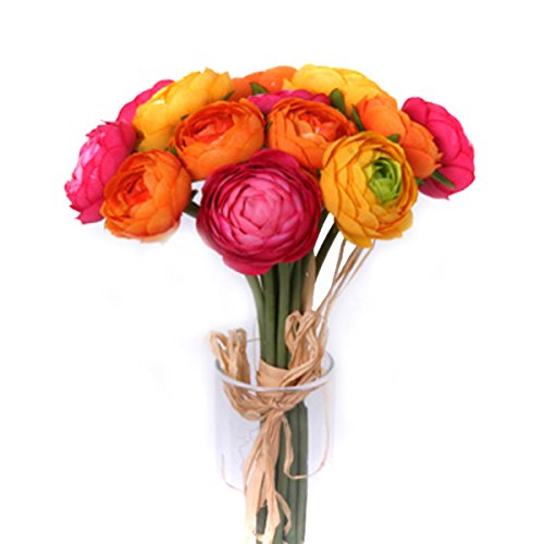 Floristrywarehouse Artificial Ranunculus Bundle 14 Mini Orange Yellow Flowers and Cerise Pink 10.5 Inches]()