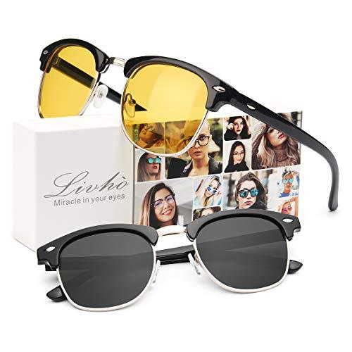 Frame Yellow Lenses Grey - Livhò G 2 Pack of Polarized Sunglasses Women Men Semi Rimless Frame Retro Classic Sun Glasses (Black Yellow+ Black Grey)