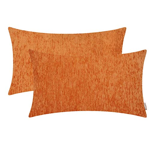 BRAWARM Pack of 2 Comfy Chenille Bolster Pillow Covers Cases for Couch Sofa Bed Solid Dyed Soft Stripe Texture Cushion Cover Both Sides for Home Decoration 12 X 20 Inches Vibrant Orange (Orange Bolster Pillow)