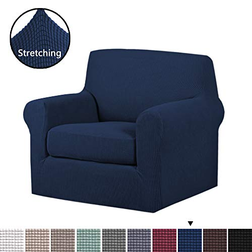 H.VERSAILTEX Stretch Chair Slipcovers Sofa Covers 2 Pieces Furniture Protector Rich Textured Lycra High Spandex Small Checks Knitted Jacquard Sofa Cover (Chair-1 Seater, Navy) ()