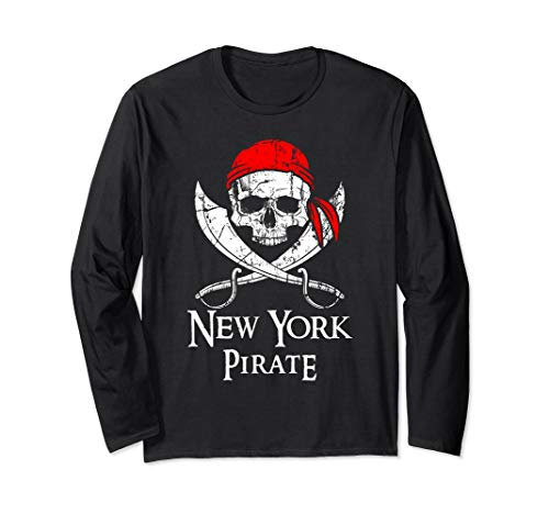 New York Pirate Jolly Roger State Pride Long Sleeve Shirt ()