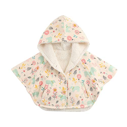 marc janie Girls' Rock Fox Hoodie Capes Poncho Floral and Bear 24 Months (Seat Floral Car Toddler Cover)