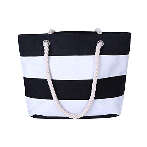 Zhhlaixing Bolsa de Playa para Mujeres Diseño Simple Zip Closure Lona Bolso de Mano Bolsa de la Compra Con Bolsillo Interior Black & White