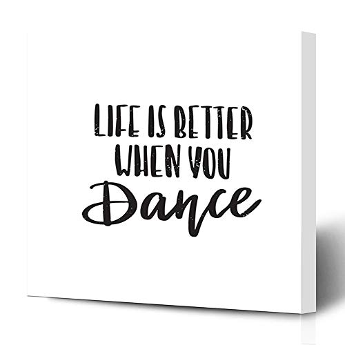 Ahawoso Canvas Prints Wall Art 16x16 Inches Note Music Motivational Inspirational Quote Abstract Dance Philosophy Life Inspiration Lettering Text Wooden Frame Printing Home Living Room Office Bedroom