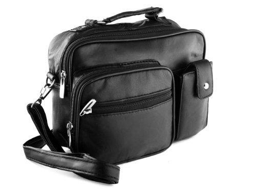 Flap Shoulder Black Genuine Bag Leather - Roma Genuine Black Leather Organizer Bag Handbag Purse