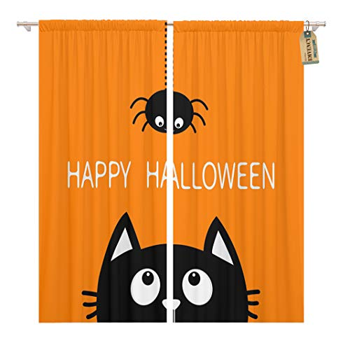 Golee Window Curtain Happy Halloween Black Cat Face Head Silhouette Looking Up Home Decor Rod Pocket Drapes 2 Panels Curtain 104 x 84 inches ()
