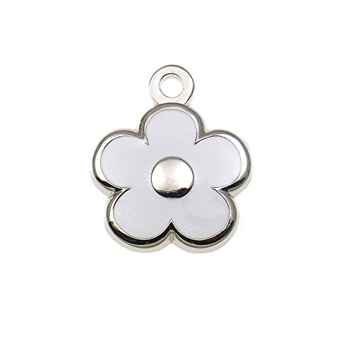 (LuckyPet Pet ID Tag - TINY Flower Jewelry Tag - Dog & Cat Tags for the Tinest Pets - Deeply Engraved on the Back Side - Color: White )