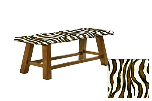 Counter Height Wavy Bench Featuring Your Choice of an Animal Print Fabric Covered Padded Seat Cushion (Brown and White Zebra Velboa) ()