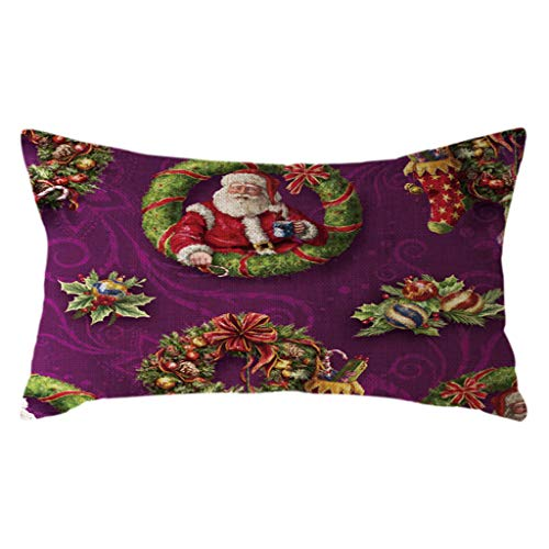 Littay The Best Gift Santa Claus Pillow Case Linen 30x50cm Throw Cushion Cover Home Decor -