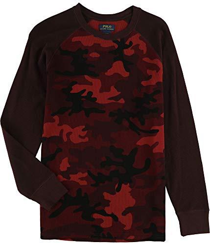 Polo Ralph Lauren Mens Thermal Long Sleeve Camo Sleep Shirt (L, Red)
