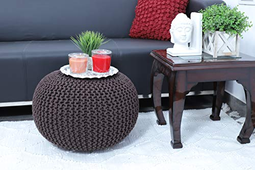 Brown Ottoman Accent (Frenish Décor Hand Knitted Cotton Ottoman Pouf Footrest 20x20x14 INCH, Living Room Accent seat (Brown))