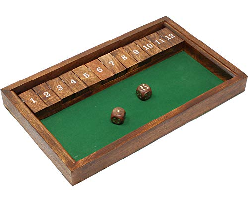 SKAVIJ Handmade Wooden Shut The Box Dice Board Game for Learning Numbers and Strategy (13.8