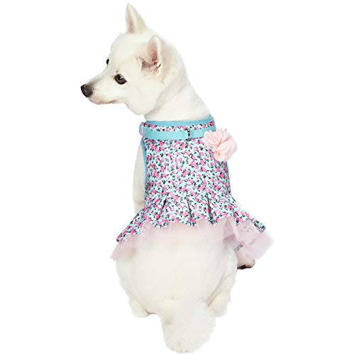 Blueberry Pet 5 Patterns Soft & Comfy Spring Made Well Cute Floral No Pull Mesh Dog Costume Harness Dress in Light Blue, Chest Girth 19
