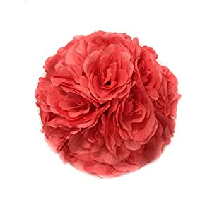 Ben Collection 10 Pack of Fabric Artificial Flowers Silk Rose Pomander Wedding Party Home Decoration Kissing Ball Trendy Color Simulation Flower (Coral, 25cm) 13