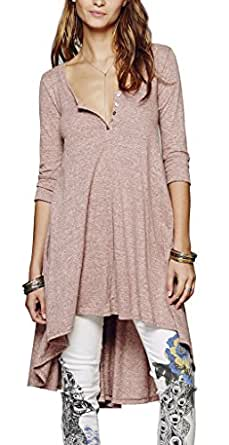 R.Vivimos Women Half Sleeve High Low Casual Loose T-Shirt Short Dress Large Pink