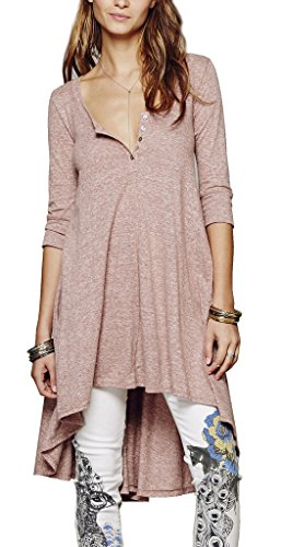 R.Vivimos® Women Half Sleeve High Low Loose Casual T-shirt Tops Tee Dress L Pink