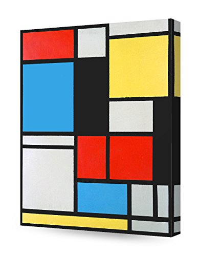 - DecorArts - Ater Piet Mondrian Composition in blue, red and yellow Lithograph in colours. Giclee Canvas Prints Wall Art for Home Decor 16x20