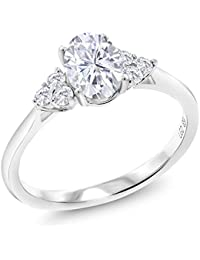 10K White Gold Solitaire w/Accent Stones Lab Grown Diamond Ring Forever Classic Oval 0.90ct (DEW) Created Moissanite by Charles & Colvard