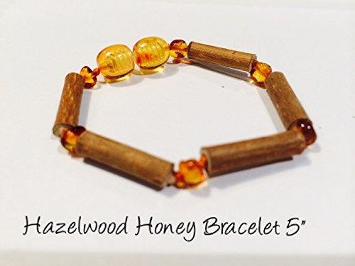 Hazelwood Baltic Amber Bracelet 5.5 - 6 Inches Brown Honey Yellow for babies baby infant toddler bub for Gut issues; Eczema, Colic, Reflux, GERD, heartburn, and ulcers. 100% Satisfaction Guaranteed. 15 cm 6 inches Hazel wood