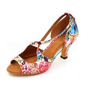 Dance für Schuhes Quietness Damen Schuhe, Satin, für Dance Salsa, Jazz-Schuhe/High Heels Schuh, für Anfänger, zum Üben, Blumenfuchsia 5ffab7