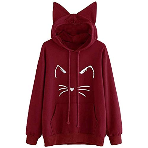 Rambling Hot Style Girls Cute Cat Ear Pullover Hoodie Long Sleeve Kangaroo Pouch Sweatshirts Hoody Wine
