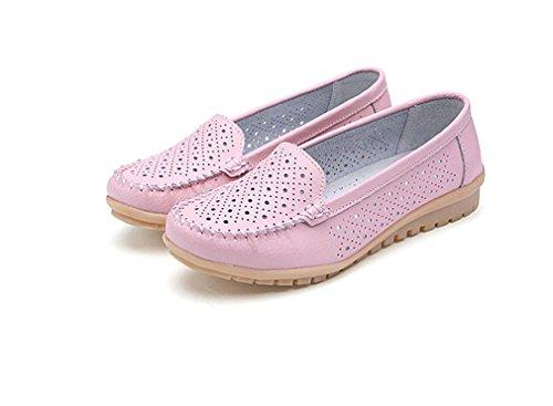 Bridfa Zapatos de mujer Mocasines de cuero genuino de los zapatos de mujer Zapatos de mujer Mocasines zapatos de mujer Pink Hole
