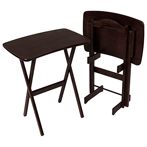 Manchester Wood Contemporary Folding TV Tray Table Set of 2 - Espresso by Manchester Wood: American Made Furniture