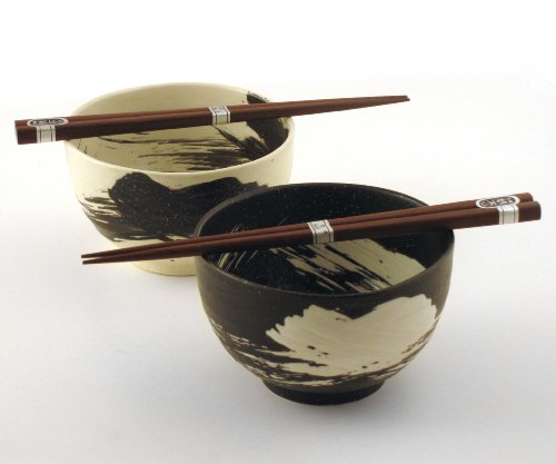 Japanese Stoneware Bowls with Chopsticks Gift Set, Brush Black and White