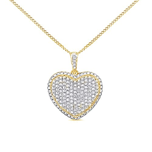 Jewel Zone US 0.15 Ct Natural Diamond Micro Pave Set Heart Pendant Necklace 14K Solid Yellow Gold