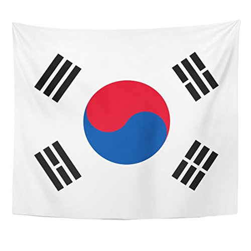 Emvency Tapestry Korean South Korea Flag Symbol Emblem Graphic Nation Home Decor Wall Hanging for Living Room Bedroom Dorm 50x60 inches - Korean Wall Hanging