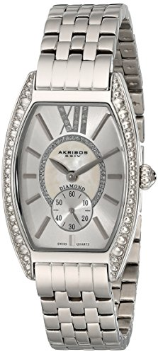 Women's  Diamond Swiss Quartz Tourneau Bracelet Strap Watch - Akribos XXIV AKR470SS