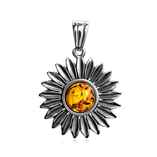 Ian and Valeri Co. Amber Sterling Silver Sunflower Large Pendant