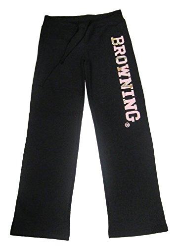 (Signature Products Women's Browning Camo Logo Sweatpant Medium Black)