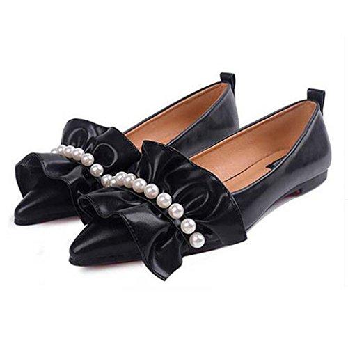 SHEO sandalias de tacón alto La señora señaló a la parte inferior de los zapatos de suela suave de ocio boca baja Negro