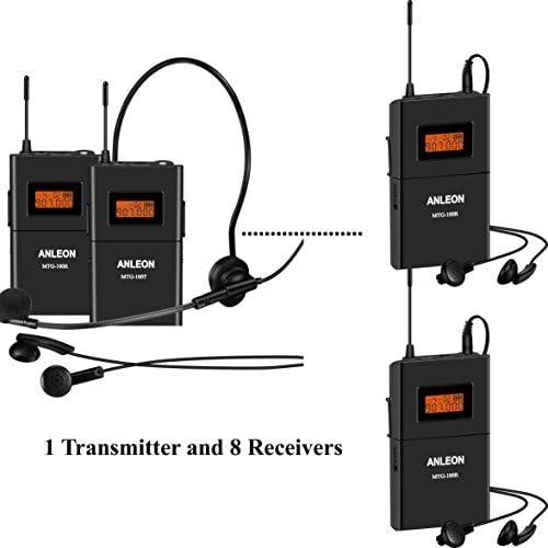 Anleon mtg-100 8 ترجمه قابل حمل سیستم Tourguide 915mhz (1 فرستنده و 8 گیرنده)