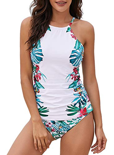 Dearlove Floral Print High Neck Tankini Top 2 Piece Swimsuits Halter Padded Blouson Bathing Suit with Shorts White XL