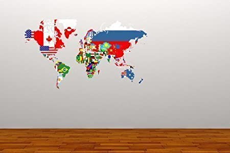 Full colour world map flags wall sticker decal graphic decoration full colour world map flags wall sticker decal graphic decoration home office travel study living room gumiabroncs Images