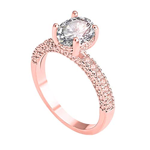 (WoCoo Shining Rings Fashion Trendy Rose Gold Full Diamond Zircon Ring Ladies Statement Jewelry(Rose Gold,10))