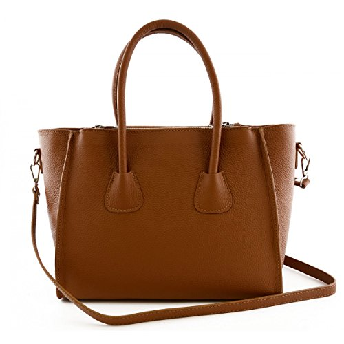 Borsa Donna A Mano In Vera Pelle Colore Cognac - Pelletteria Toscana Made In Italy - Borsa Donna