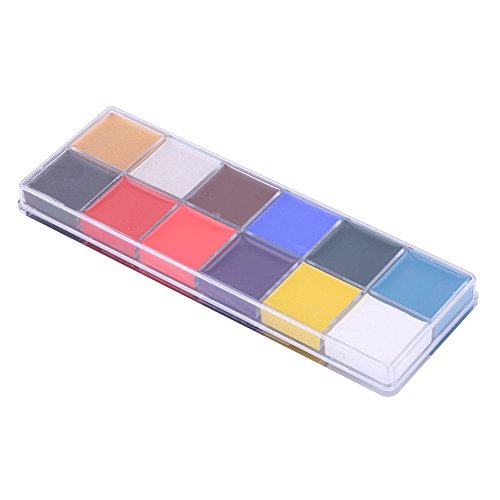 Gosear Face Painting Body Paint Oil Art Palette Kit Set 12 Colors Halloween Clown Drama Masquerade Party Fancy Dress Carnivals Make Up Cosmetic ()