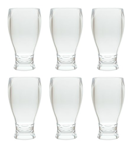 QG 14 ounces Clear Acrylic Plastic Wheat Beer Glass Style Thick Wall Tumbler with Round Base Set of 6 ()