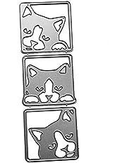 AkoMatial Cutting Dies,Cute Cat Design Embossing Cutting Dies Tool Stencil Template Mold Card Making Scrapbook Album Paper Card Craft,Metal