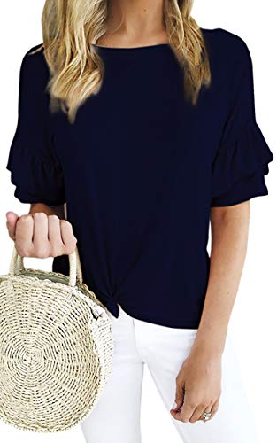 ECOWISH Women's Casual Ruffles Short Sleeve Solid Tie Knot Front Loose Fit T Shirt Blouses Tops Navy Blue X-Large