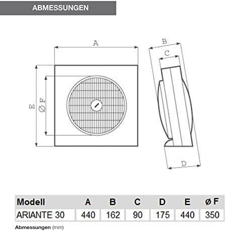 Vortice 60790 Ventilatori ARIANTE 30, Plastica, Grigio